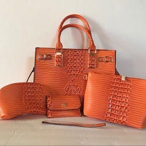 Crocodile Pattern 4 in 1 Orange Satchel Bag